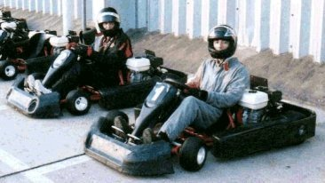 caught on CCTV stealing two go-carts, minutes later driver 2 careers into driver 1 who narrowly escapes death