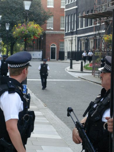 Some well guarded street in central London