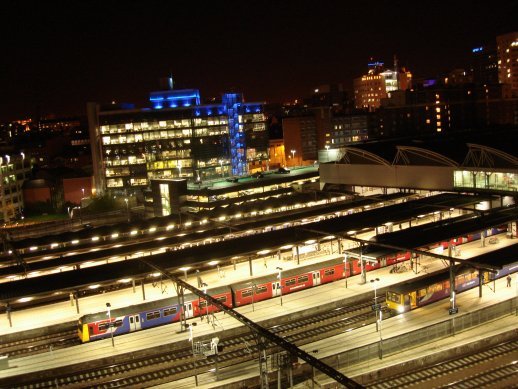 Looking out onto a quiet Leeds station at 1am.