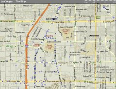 A street map of Vegas and the Strip.  Some of the casino names have been added.